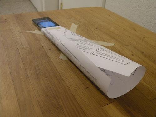 pengeras suara roll kertas