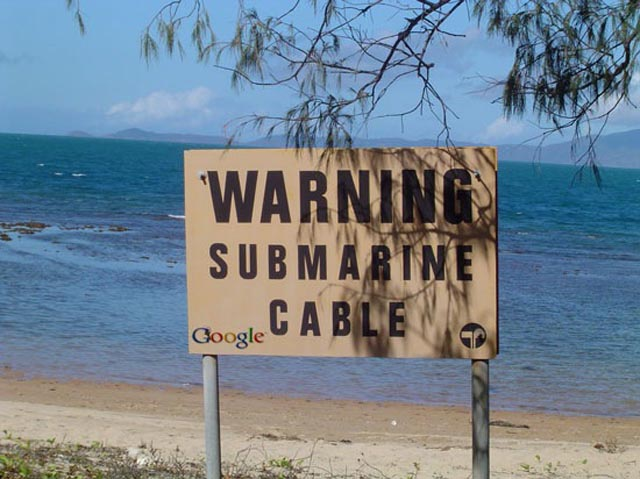 submarine cable warning sign