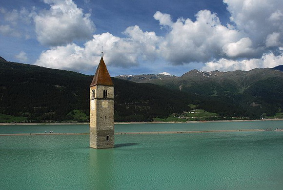 Church Of Altgraun In Lake Reschen, Italy