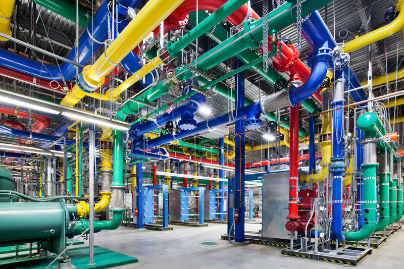 google data center colorfull pipes