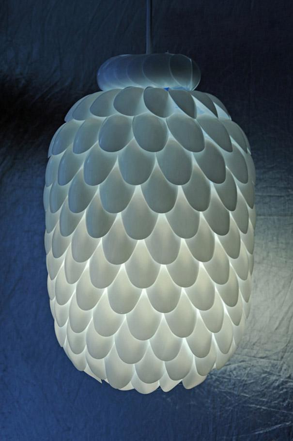 diy spoon lamp creative idea 5
