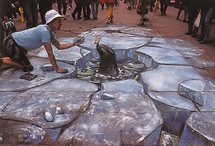 Julian Breever chalk 3d street art 3