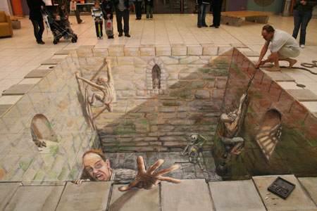 Julian Breever chalk 3d street art 15