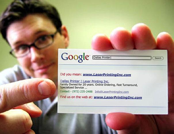 Contoh desain kartu nama kreatif Google Style