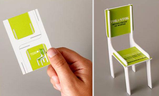Contoh desain kartu nama kreatif kursi lipat