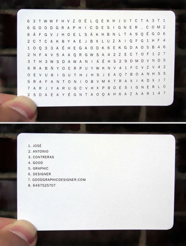 Contoh desain kartu nama kreatif teka-teki silang