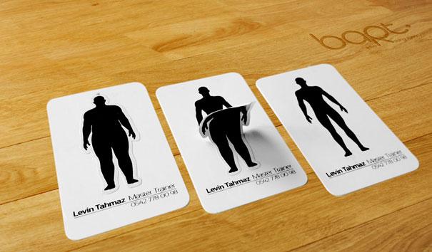 Contoh desain kartu nama kreatif personal trainer