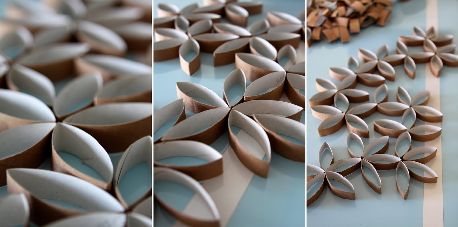 Flower Wall Art Made of Toilet Paper Rolls