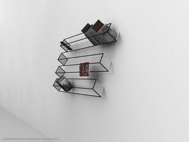 desain lemari buku kreatif bias of thoughts 2
