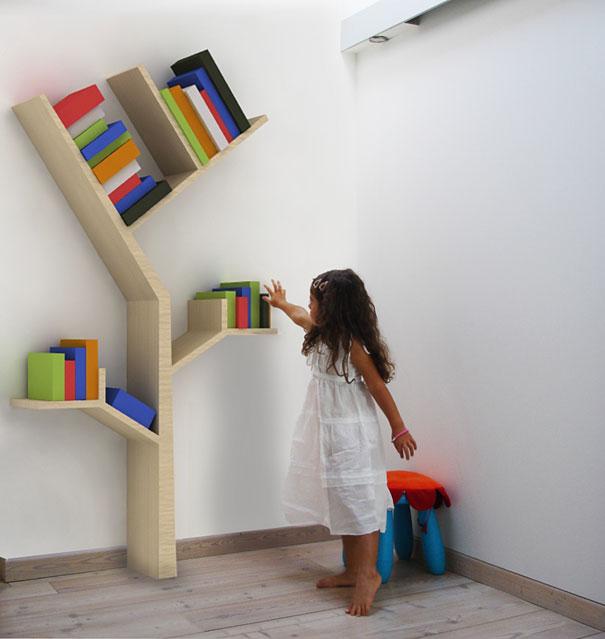desain lemari buku kreatif booktree 2