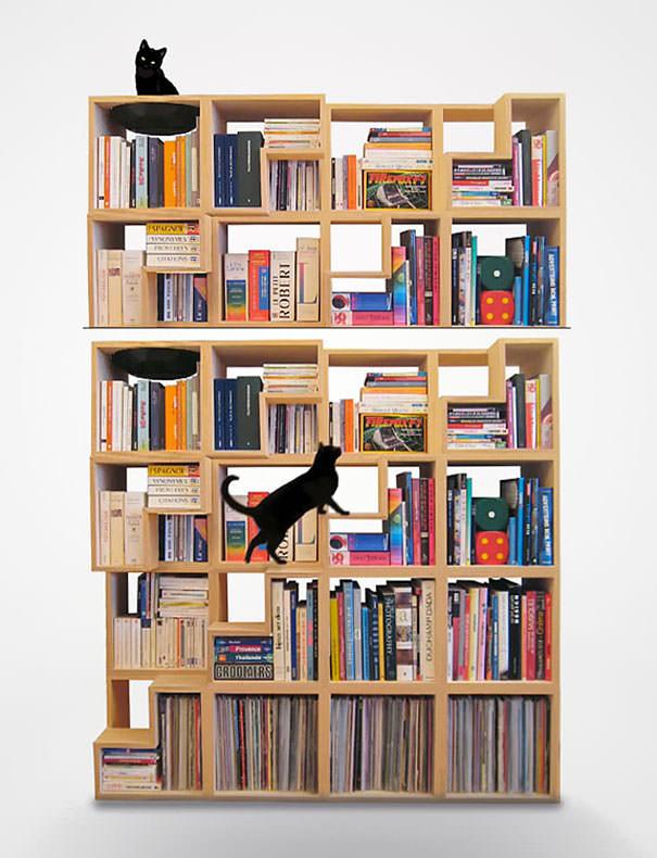 desain lemari buku kreatif cat library 1