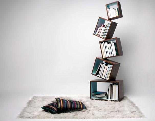 desain lemari buku kreatif equilibrium 1