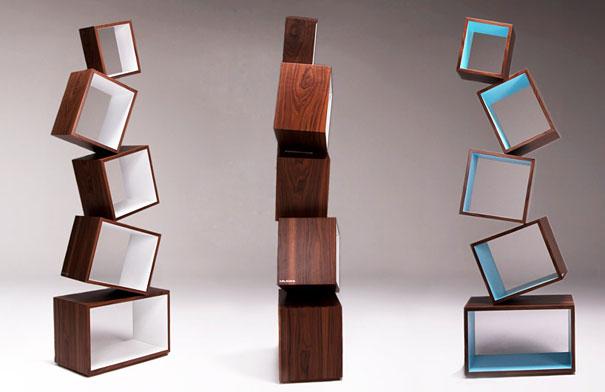 desain lemari buku kreatif equilibrium 2