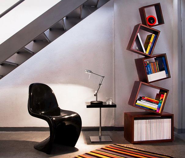 desain lemari buku kreatif equilibrium 3