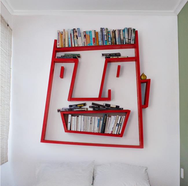 desain lemari buku kreatif face shelving 1