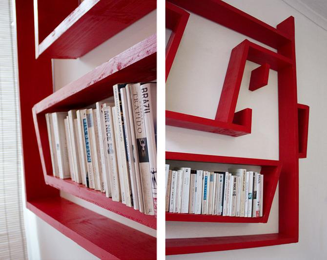 desain lemari buku kreatif face shelving 2