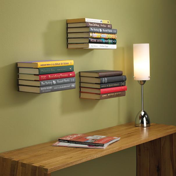 desain lemari buku kreatif invisible book shelf 1