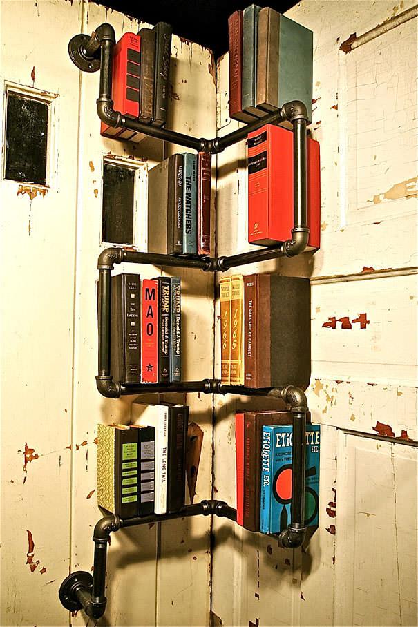 desain lemari buku kreatif ladder 2