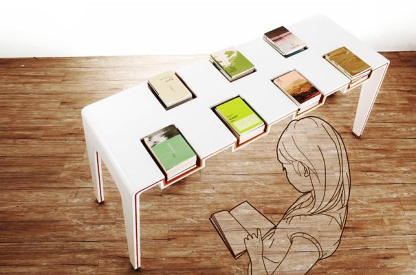 desain lemari buku kreatif library table 1