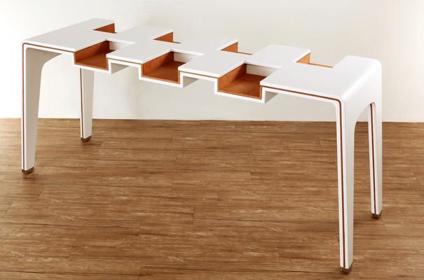 desain lemari buku kreatif library table 2