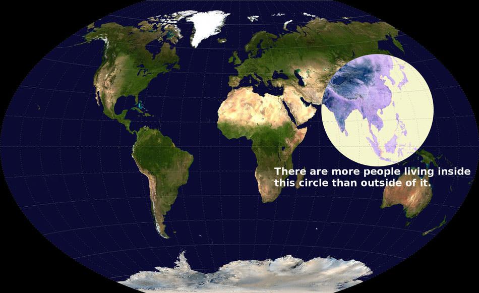 peta dunia populasi dunia