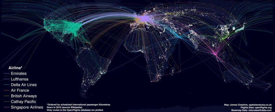 peta maskapai penerbangan tersibuk di dunia