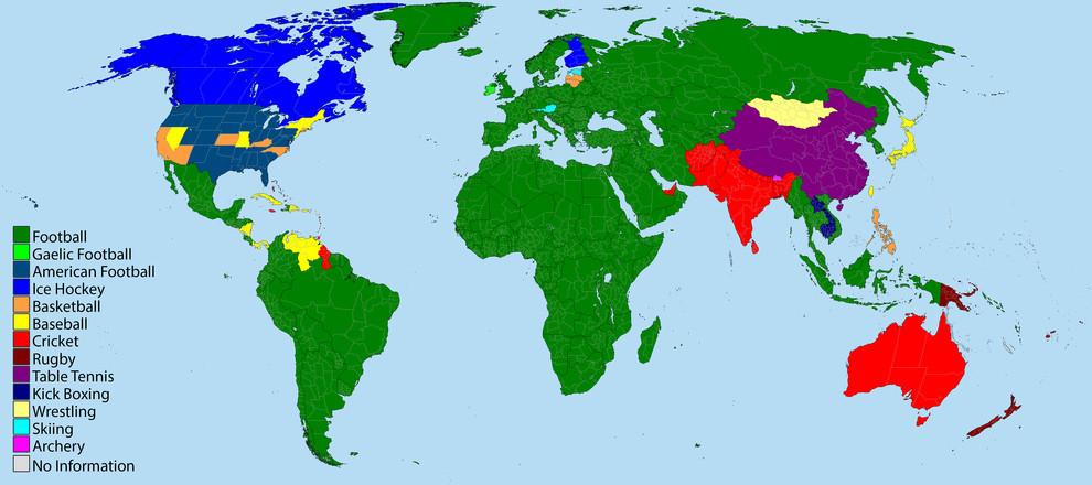 peta olahraga paling populer di dunia