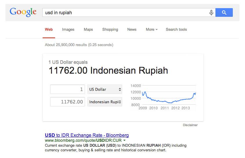 Google Search untuk Melihat Kurs Mata Uang Asing