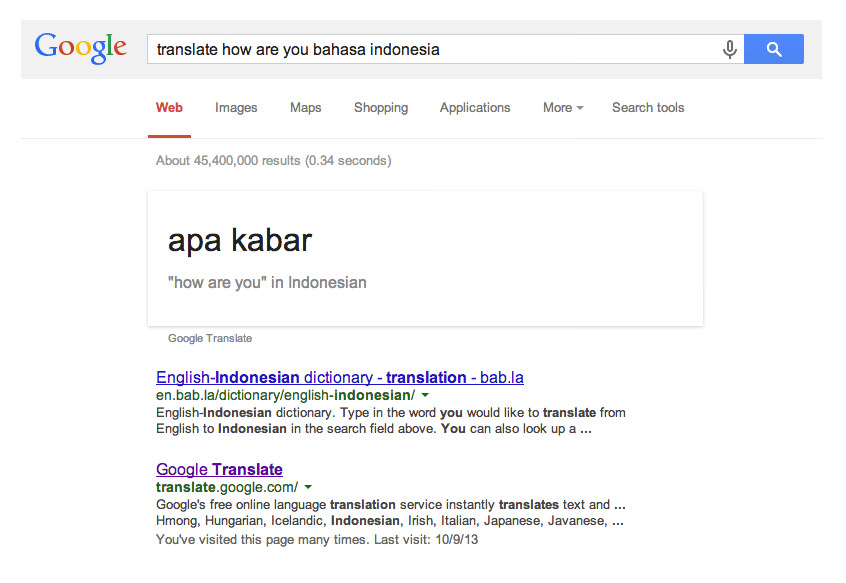 Translate Bahasa dengan Google Search
