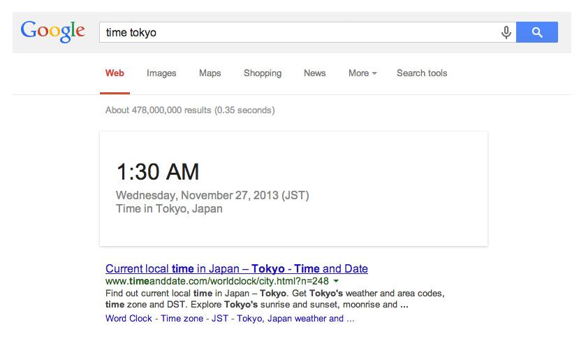 Melihat Waktu Saat Ini dengan Google Search