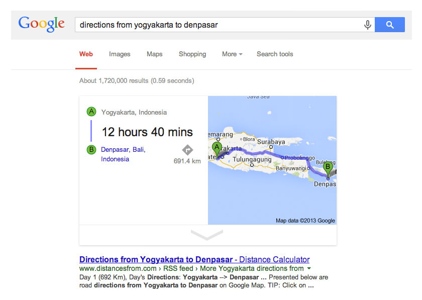 Melihat Jarak Antar Kota dengan Google Search
