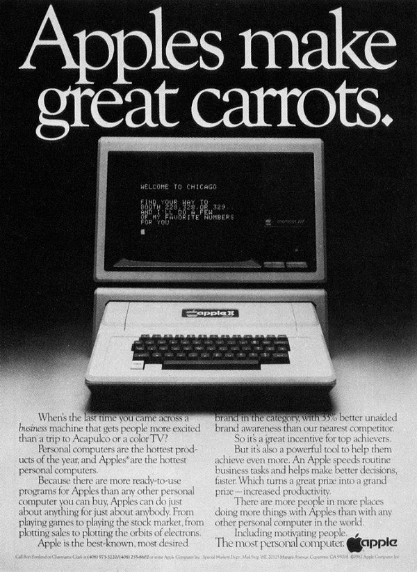 iklan komputer jadul klasik apple carrots
