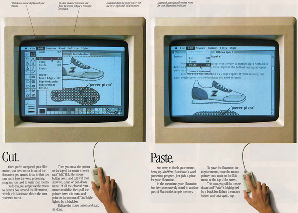 iklan komputer jadul klasik apple cut and paste