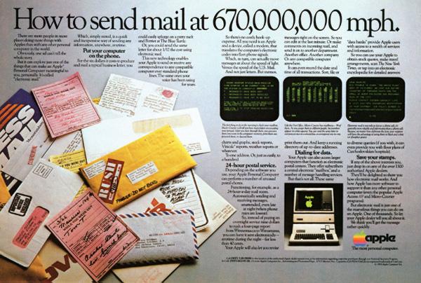 iklan komputer jadul klasik apple send mail