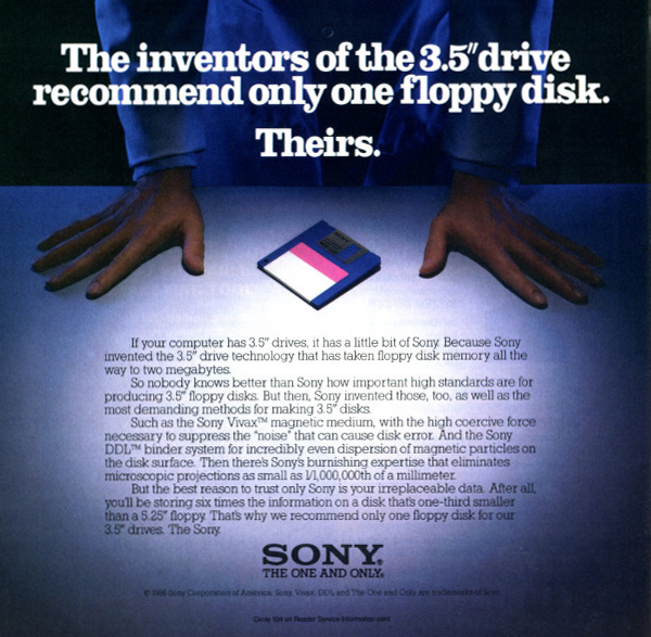 iklan komputer jadul klasik sony floppy disk