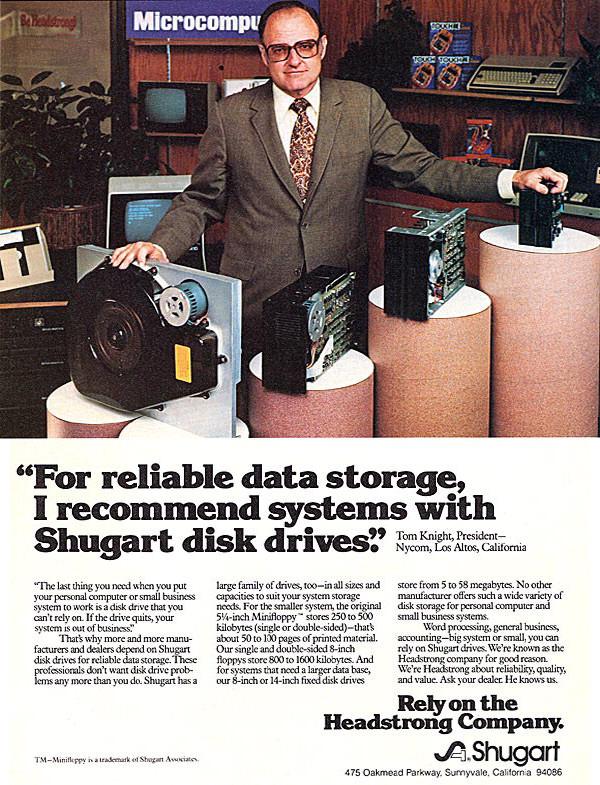 iklan komputer sugart disk drive